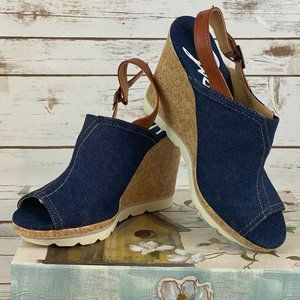 Skechers Denim Peep Toe Wedges - Size 9